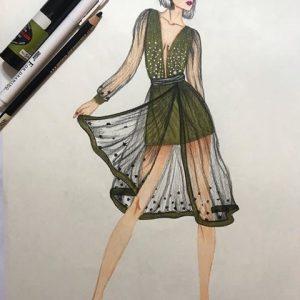 طراحی لباس با پارچه حریر